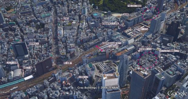 新宿再開発 Google Earthより